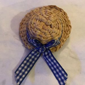Vintage bamboo hat brooch